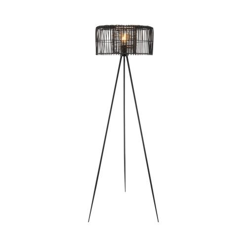 Laredo Matt Black Double Layer Rattan Floor Lamp