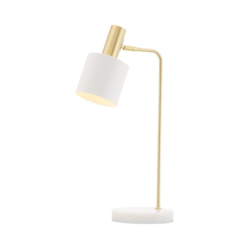 Denton Brass White Adjustable Table Lamp