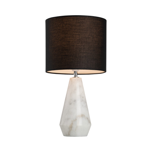 Lewisville Marble Base with Black Linen Shade Table Lamp