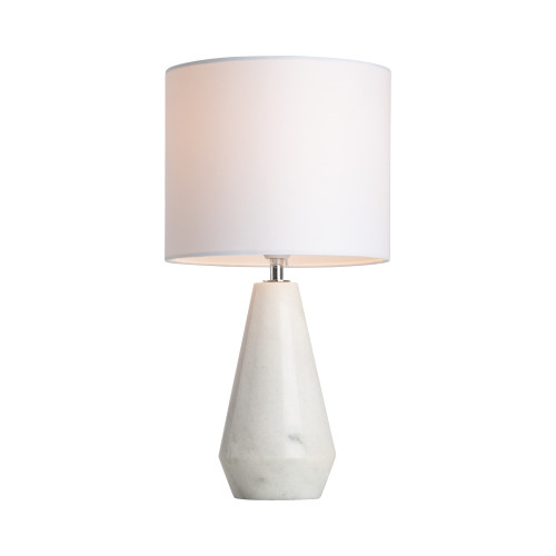 Lewisville Marble Base with White Linen Shade Table Lamp