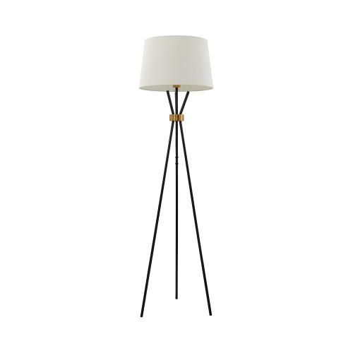 Morton Black Tripod with Brass Detail Floor Lamp