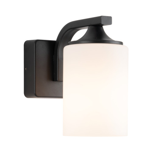 Gregory Black with Frosted Glass Outdoor Wall Light