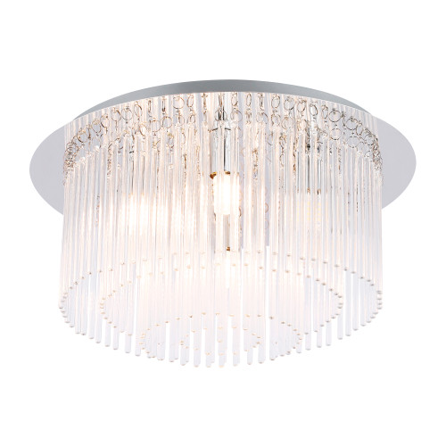 Bloomfield Crystal Glass 6 Light Decorative Close To Ceiling Light