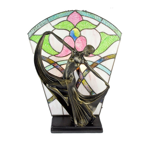 Dancing Lady with Floral Leadlight Table Lamp