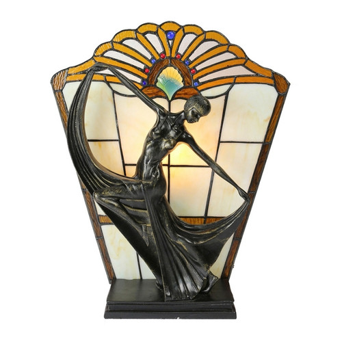 Dancing Lady with Amber Leadlight Table Lamp