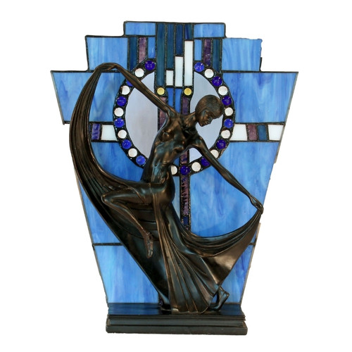 Dancing Lady with Blue Leadlight Table Lamp
