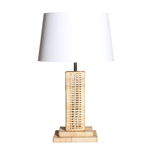 Woven Rattan Base with White Fabric Shade Table Lamp