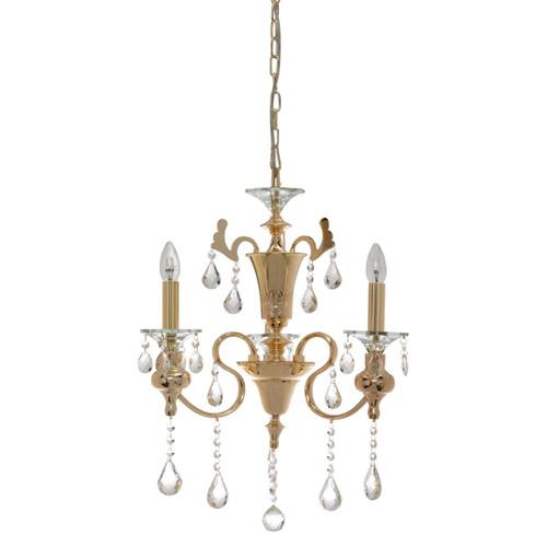 Larissa 3 Light Gold Crystal Chandelier