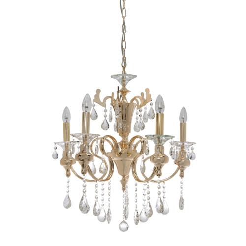 Larissa 5 Light Gold Crystal Chandelier