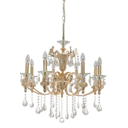 Larissa 8 Light Gold Crystal Chandelier