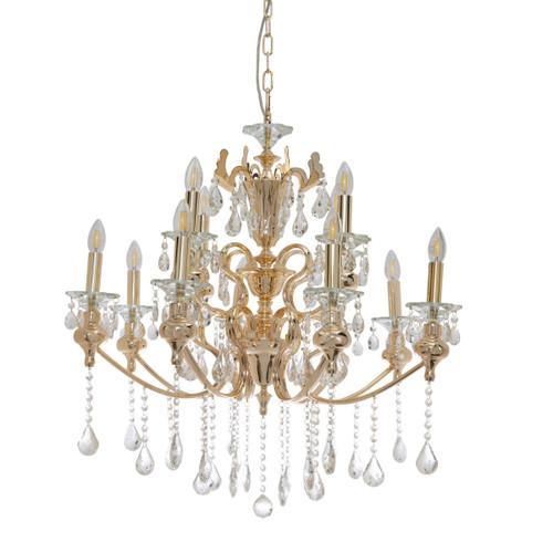 Larissa 12 Light Gold Crystal Chandelier
