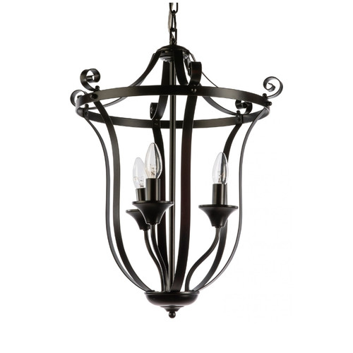 Conway 3 Light Black French Provincial Pendant Light