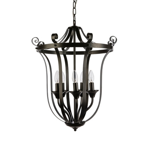 Conway 5 Light Black French Provincial Pendant Light