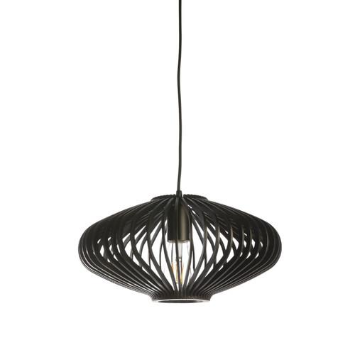 Hartland Saucer Black Wood Pendant Light - Small