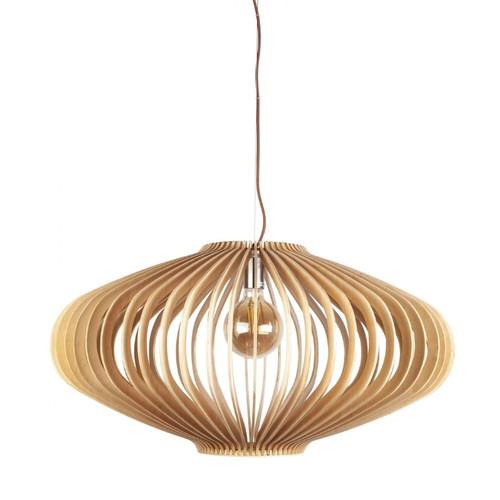 Hartland Saucer Natural Wood Pendant Light - Large