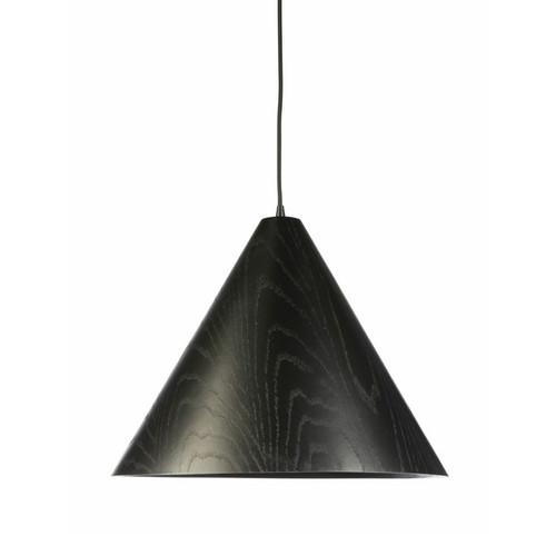 Timber Veneer Cone Black Pendant Light - Extra Large