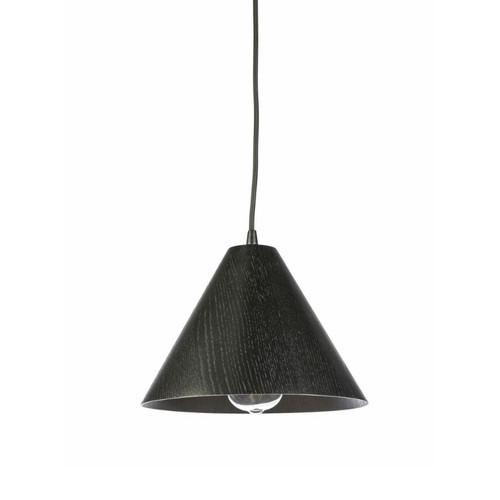 Timber Veneer Cone Black Pendant Light - Small