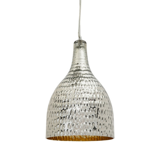 Pasco Bell Chrome Textured Glass Pendant Light - Medium