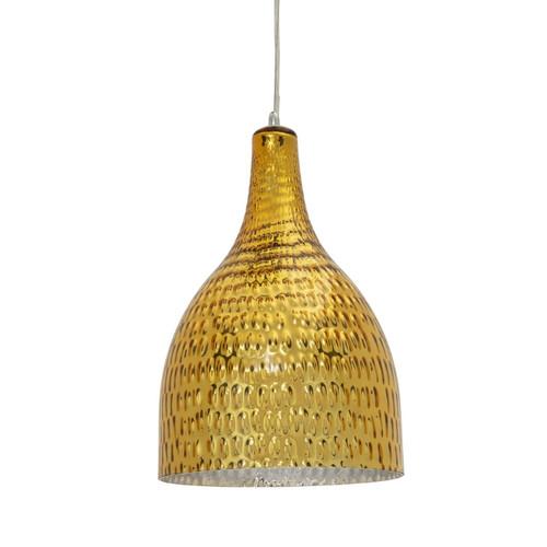 Pasco Bell Gold  Textured Glass Pendant Light - Medium