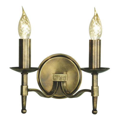 Stanford 2 Light Candle Brass Wall Lamp