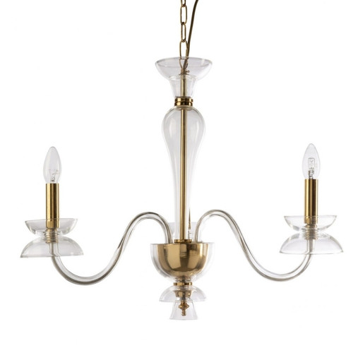 Darci 3 Light Gold and Clear Murano Glass Pendant Chandelier