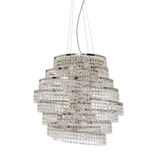 Spiral 6 Light Chrome Cascading Italian Crystal Pendant Chandelier