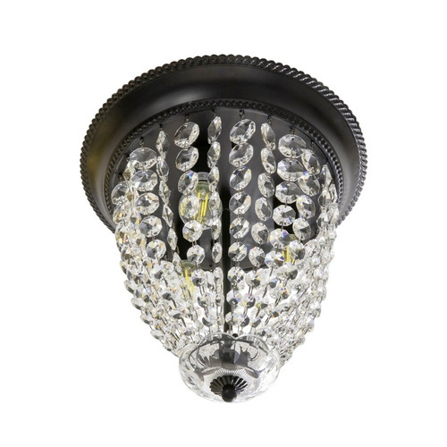 Elinor 3 Light Crystal with Black Canopy Close To Ceiling Light