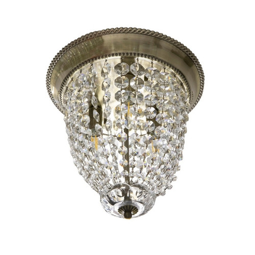 Elinor 3 Light Crystal with Bronze Canopy Close To Ceiling Light
