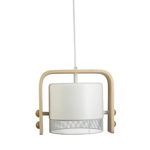 Frida Drum White and Wood Pendant Light