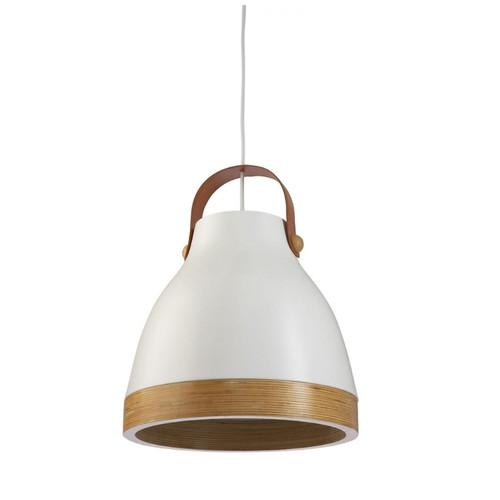 Franki Bell White with Wooden Trim Pendant Light