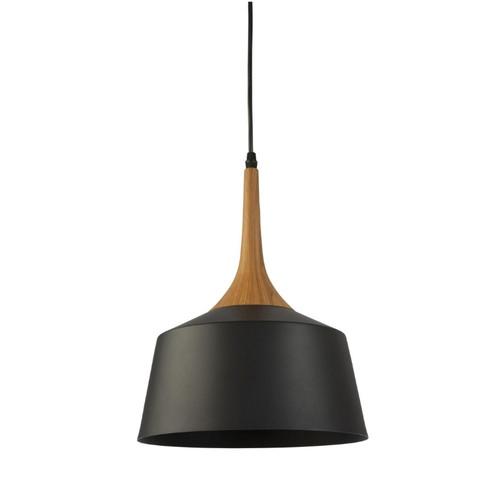 Fiza Dome Black Wooden Top Pendant Light - Small