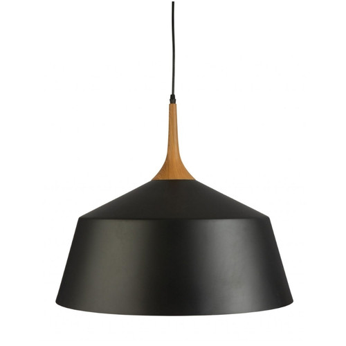 Fiza Dome Black Wooden Top Pendant Light - Large