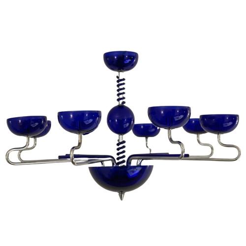 Gizelle 8 Light Italian Murano Blue Glass Art Deco Pendant Chandelier