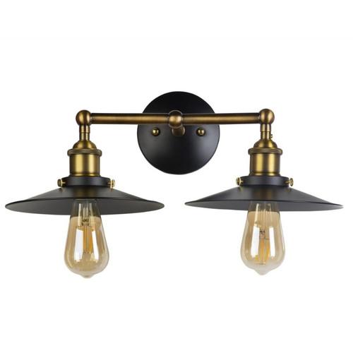 Auburn 2 Light Black and Bronze Rustic Wall Light