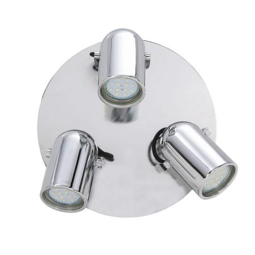 Seward Chrome 3 Light with Round Plate Adjustable LED Wall Light