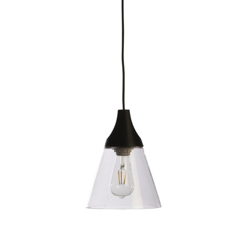 Nutley Narrow Cone Black and Clear Glass Pendant Light
