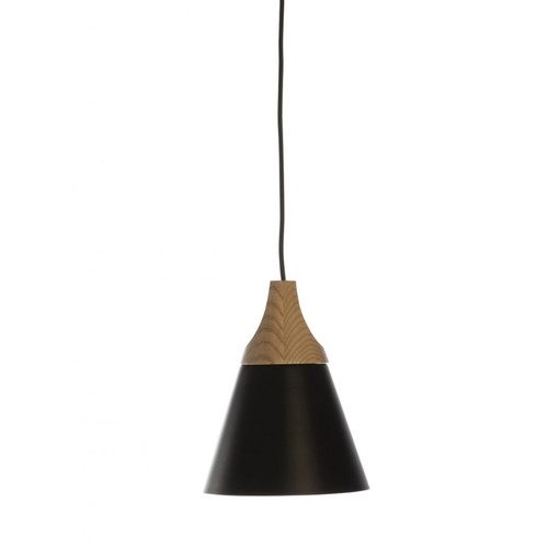 Nutley Narrow Cone Black and Wood Pendant Light