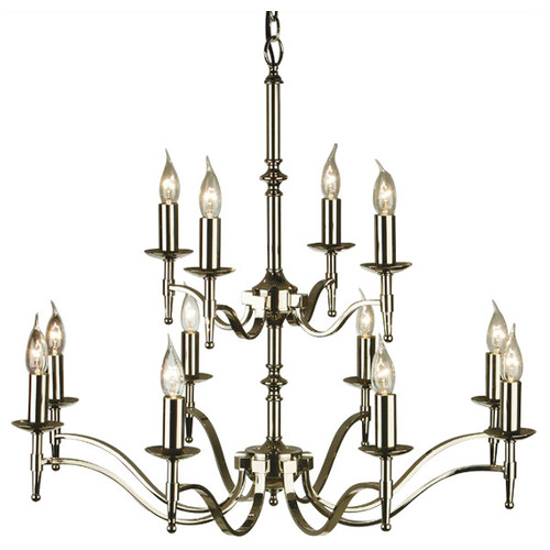 Stanford 12 Light Candle Nickel Chandelier from Viore Design