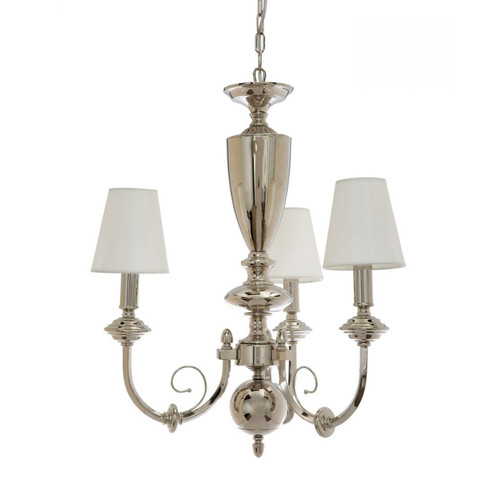 Yorktown 3 Light Chrome with White Shade Traditional Chandelier