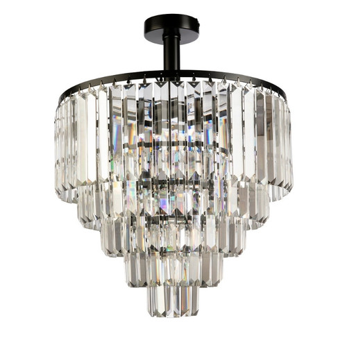 Kathryn Black Crystal Close To Ceiling Light