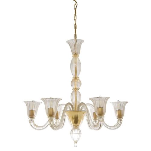 Luna 6 Light Gold and Italian Murano Glass Chandelier