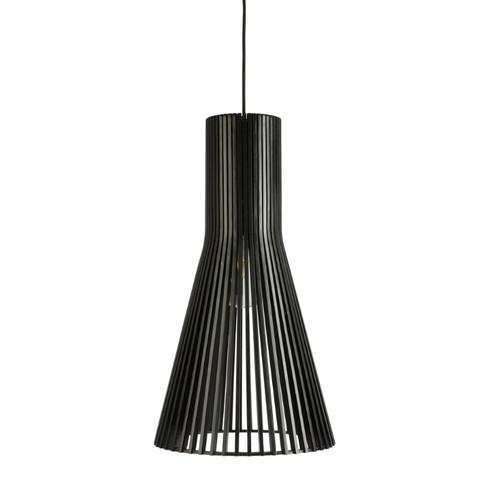 Layton Cone Black Wooden Pendant Light