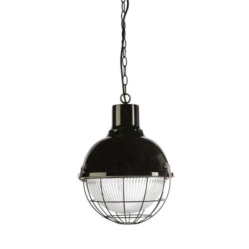 Olva Round Ball Gloss Black Caged Pendant Light