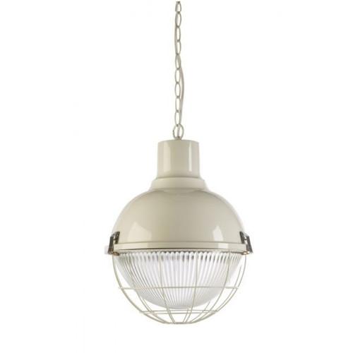 Olva Round Ball Gloss White Caged Pendant Light