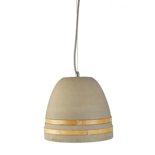 Peri Bell Concrete with Wooden Trim Pendant Light - Medium