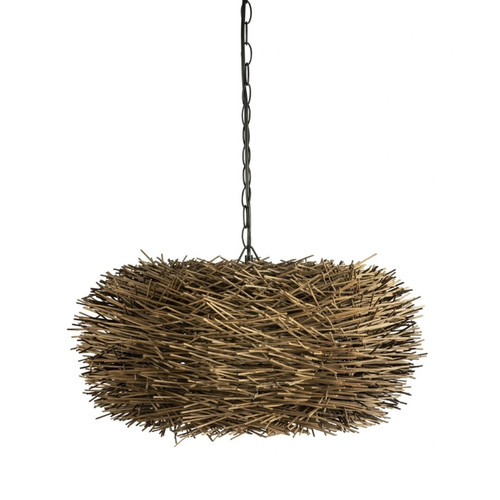 Pietro Brown Cane Nest Pendant Light