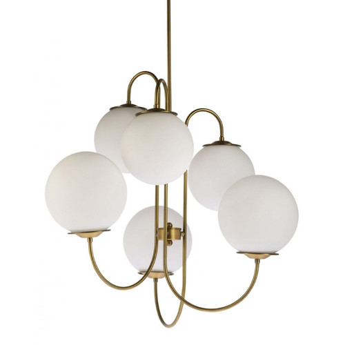 Pearl 6 Light Gold Opal Glass Pendant Light