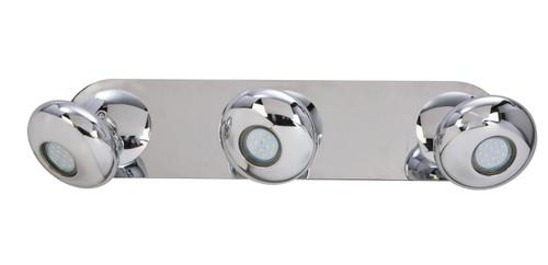 Gretna 3 Light Oval Chrome LED Wall Light