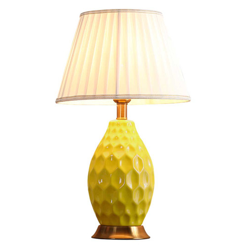 Lily Oval Textured Yellow Ceramic Table Lamp