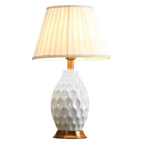 Lily Oval Textured White Ceramic Table Lamp